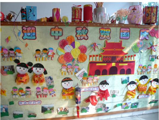 中秋节主题墙饰:迎中秋贺国庆; 幼儿园环境; 迎中秋节贺国庆节墙面