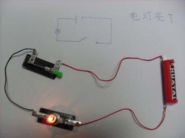 教学重点:能让小灯泡亮起来.