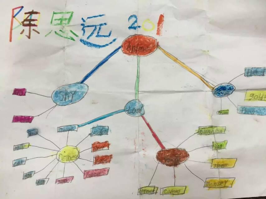 需要注意的是,思维导图在低年级开展时,必须有指导模板,在对于思考方