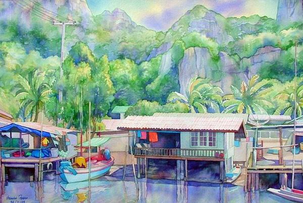 泰国画家的水彩风景